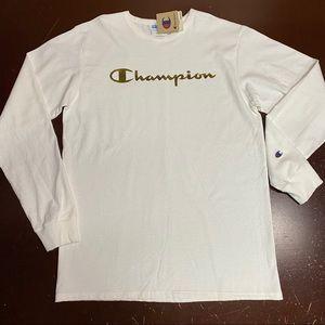 Champion Long Sleeve Tee White/Gold Foil Script